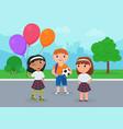 happy kid friends in school uniform stand together vector image vector image