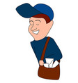 happy mailman on white background vector image
