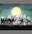 human running from zombie at night ruined city vector image vector image