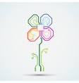 logo circuit flower vector image