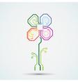 logo circuit flower vector image vector image