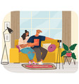 man and woman record video live online podcast vector image vector image
