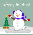 new year and christmas card cute snowman in fur vector image vector image