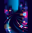 night city life with street lamps and bokeh vector image vector image
