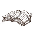 open book with information on pages monochrome vector image