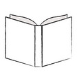 opened book close up in black blurred contour vector image vector image