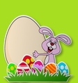 Paper card with rabbit and Easter egg vector image vector image