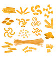 pasta cooking macaroni and spaghetti and vector image