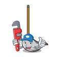 plumber mop mascot cartoon style vector image vector image