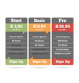 Pricing Table vector image vector image