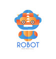 robot logo design badge for company identity vector image