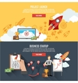 Rocket launch banners interactive webpage design vector image vector image