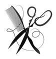 scissors and comb symbol for master hairstyles vector image