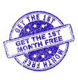 scratched textured get the 1st month free stamp vector image