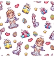 seamless pattern of cartoon Easter elements vector image vector image
