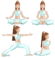 Set girl yoga pose vector image