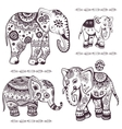 set hand drawn ethnic elephants vector image vector image