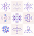 set of 9 symmetric geometric shapes vector image vector image