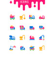 set simple icons construction transport vector image vector image