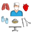 Surgeon profession and medical icons vector image