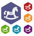 toy horse icons set hexagon vector image vector image