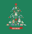 tree shape merry christmas card vector image vector image