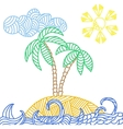 Tropical island with palms and waves vector image vector image