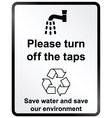 Turn off water Information Sign vector image vector image