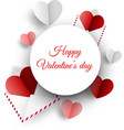 valentine s card with paper letters and hearts vector image vector image