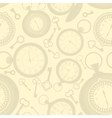 Vintage seamless pattern with clocks and keys vector image vector image