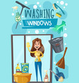 washing window cleaning tools poster with woman vector image vector image