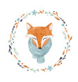 watercolor fox portrait vector image vector image