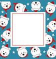 white bear santa claus on indigo blue banner card vector image vector image