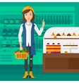 Woman holding supermarket basket vector image