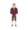 young man in hoodie vector image vector image
