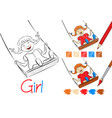 happy girl on a swing black and white vector image