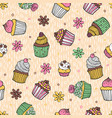 40 color cupcake seamless pattern vector image vector image