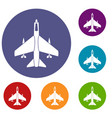armed fighter jet icons set vector image vector image
