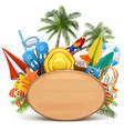 beach wooden board vector image vector image