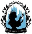 Beautiful princess silhouette with singing bird