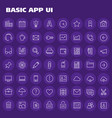 big basic app ui ux and office linear icon set vector image vector image