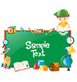 border design with boy and many school objects vector image vector image