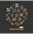 building construction elements and tools color vector image