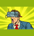 businessman in vr glasses screaming vector image vector image