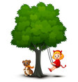 cartoon devil girl and dog play under the tree vector image vector image