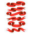 cartoon red ribbons set vector image