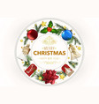 christmas greeting card with xmas ornaments vector image