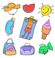 collection element summer style doodles vector image vector image