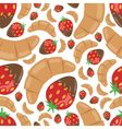 croissant and strawberry in chocolate seamless pat vector image vector image
