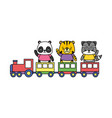 cute animals train toy vector image vector image